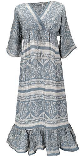 Guru-Shop Maxikleid, Weites Boho Saree Sommerkleid, Damen, Taubenblau, Synthetisch, Size:42, Lange & Midi-Kleider Alternative Bekleidung