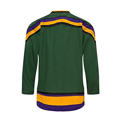 Custom Mighty Ducks Movie Ice Hockey Jersey 90S Hip Hop Clothing for Party Stitched Name Number (Green, 5XL)