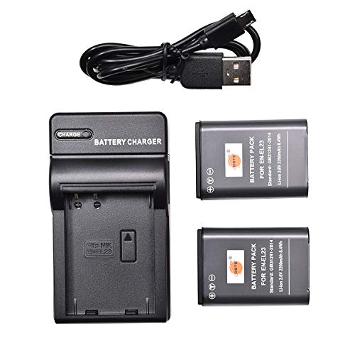 DSTE EN-EL23 Li-Ion Batería (2 Paquetes) Traje y Cargador Micro USB Compatible para Nikon Coolpix P600 S810c P900S Digital Cámara