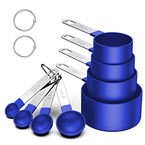 Measuring Cups and Spoons Set 8 Piece Stackable Stainless Steel Handle Accurate Tablespoon for Measuring Dry and Liquid Ingredients Small Teaspoon with Plastic Head 8 Vivid Blue
