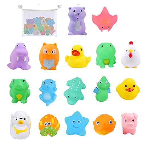 Colmanda Badespielzeug Set, 16 Stücke Badespielzeug Set mit Aufbewahrungstasche, Badewannenspielzeug Schwimmendes Badespielzeug, Badewannen Spielzeug für Kinder