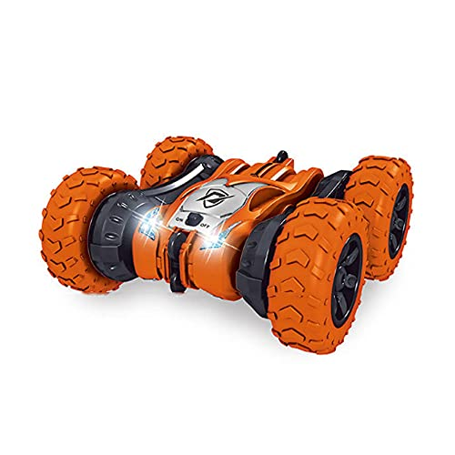 ZDYHBFE Coche de acrobacias de doble cara dos en uno Tanque con orugas Pista de rotación de 360 grados + Interruptor de rueda del desierto Coche mecánico RC Tanque de 2,4 Ghz Coche de juguete para n
