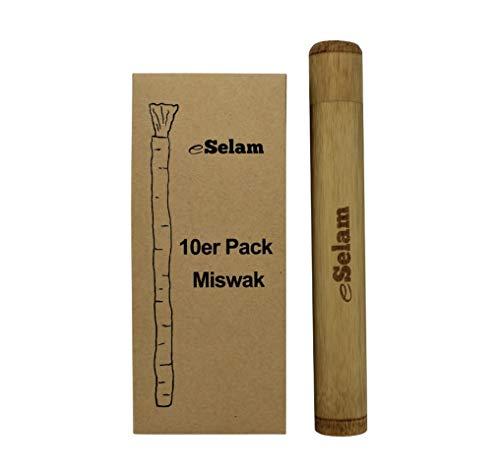 eSelam 10x Premium Miswak, natürliche Zahnbürste + Bamboo Case Reiseetui aus Bambus für Zahnbürste und Miswak