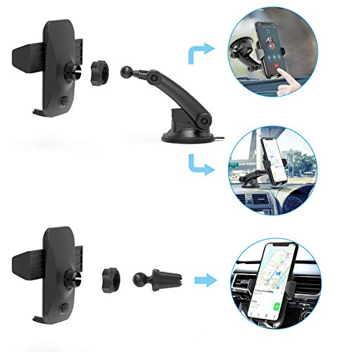AIKELA Car Phone Holder, 3 in 1 Phone Mount 360° Rotation Car Cradle for Windshield Dashboard Air Vent, One-touch…