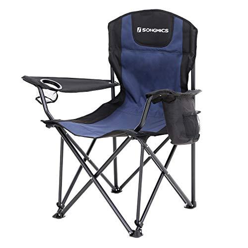 Songmics Campingstoel, inklapbaar, klapstoel met hoge rugleuning, met flessenhouder en koeltas, comfortabel, robuust frame, tot 250 kg belastbaar, outdoor stoel
