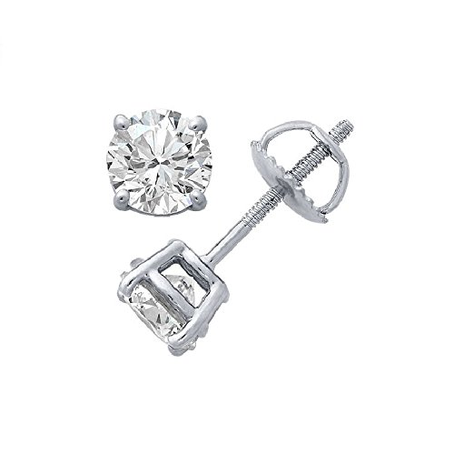 PARIKHS Round Diamond stud Plus Quality Screw Back 14K White Gold (0.50 ctw)