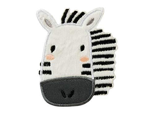 Mono-Quick Bügelbild Aufnäher Patch Applikation zum Aufbügeln Zoo Tiere Zebra 6,0 x 7,5 cm