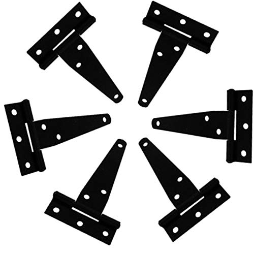 HPiano Ladenband Torscharnier Türband Werfgehänge Scharnier,6Pcs T-Scharnier Satz Hochleistungsgatter Tür Scheunen Schmiedeeisenwaren Edelstahl Schwarz (4 Zoll )