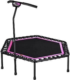 Lee Fitness Hexagonal Trampoline With Adjustable Lifting Armrests - Pink/Black - 48 Inch