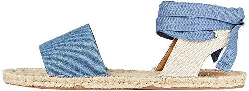 FIND Tie Up Flat Espadrilles, Blau (Denim), 36 EU
