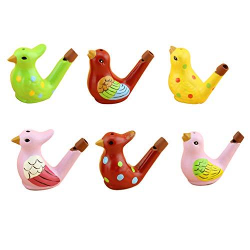 Toyvian Silbatos de Cerámica 6Pcs Silbatos en Forma de Pájaro de Agua Juguetes Artesanías Regalo de Cumpleaños para Niños para Bebé