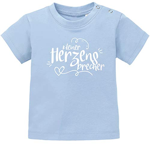 MoonWorks® Baby T-Shirt Kurzarm Babyshirt Kleiner Herzensbrecher Jungen Shirt hellblau 92/98 (16-24-Monate)