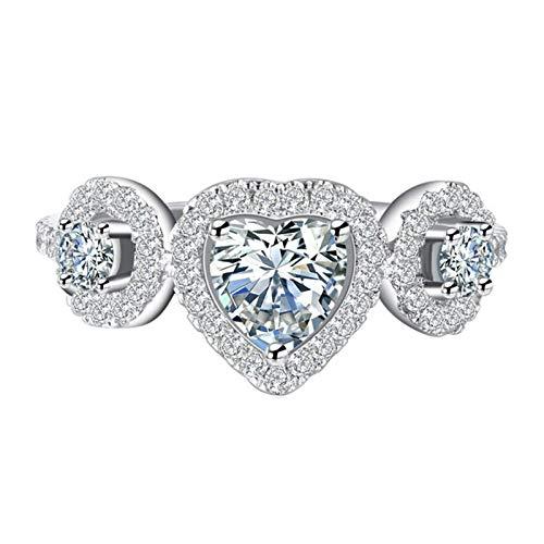 EzzySo Anillo En Forma De Corazón De Diamante Completo De Circón, Americana Personalidad Corazón Personalidad Anillo De Aleación Simple Joyería (2 Piezas),6