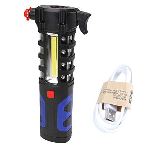 Luz de Trabajo Recargable COB Led Lámpara de Trabajo con Clip Magnético Escape y Herramienta de Rescate con Cortador de Cinturón de Seguridad/Interruptor de Ventana