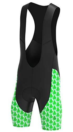 Deportes Hera Ropa Ciclismo Culote Corto con Tirantes y Badana Gel Culotte Ciclistas MTB Hombre… (Verde, L)