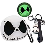 for Airpods Case Cover with Keychain, Luminous Skull Compatible with Airpods 1/2 Cases, Absorb Any Light Source and Shine in The Dark, Soft Silicone Cute Funny Anime Case for Airpods