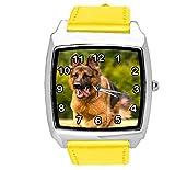 TAPORT® Reloj de cuarzo amarillo correa de cuero cuadrado con pastor alemán