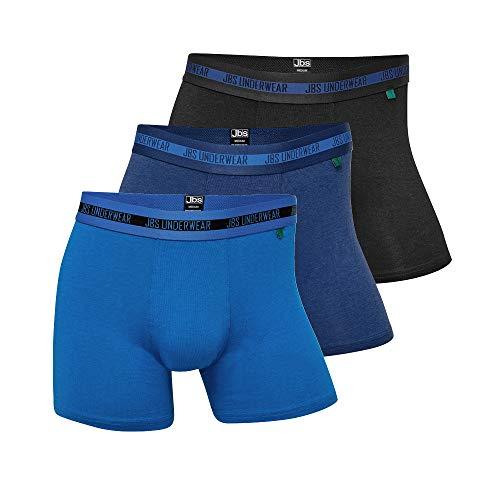 JBS ® Boxershorts Herren (3er Pack) Ultra Soft Touch und hohe Atmungsaktivität durch Bambus-Baumwoll Gewebe (Ohne Kratzenden Zettel) Schnelltrocknend , 1x Schwarz + 1x Navy + 1x Blau , XL
