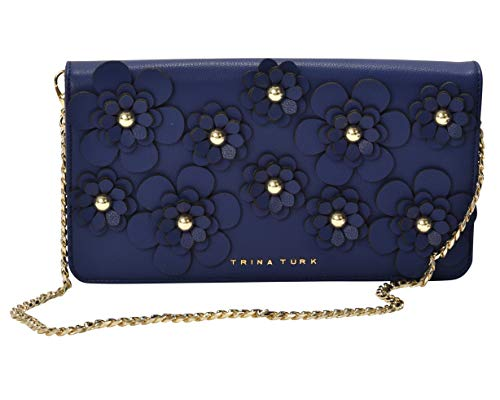 Trina Turk Handbags, Floral Applique Clutch With Detachable Chain (Navy)