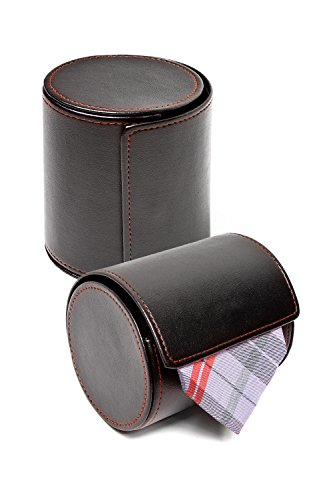 Black Tie Travel Case Roll - Perfect Business Gift - Vegan Faux Leather Necktie Anti-Wrinkle Storage...