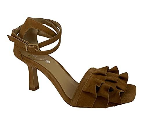 WO MILANO Sandalo Donna camoscio Biscotto Tacco cm 7 Art 408 Made in Italy (Numeric_37)