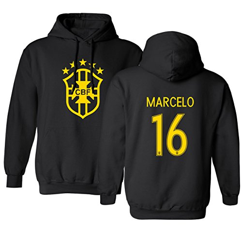 Tcamp Brazil 2018 National Soccer #16 Marcelo World Championship Boys Girls Youth Hooded Sweatshirt (Black, Youth Large)
