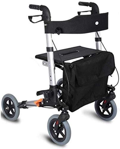 Fhxr Schwarz 4 Rädern Premium-Rollator mit Rückenlehne, Sitz und älteren Reise Rollstuhl Wagen, Rollator/Transport Stuhl mit Sitz, Rückenlehne und Beinstützen