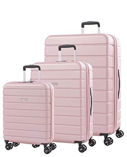 imome Top Set de Maletas Rosa Cierre TSA 55/67/77 cm Expandibles | Trolley de Viaje con Carga USB | Maleta de Viaje Rígida 100% ABS Reforzado, Antiarañazos