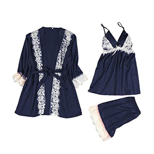 Kunfang 3 UNIDS Mujeres Sexy Pijamas de Satén de Seda Conjunto Vestido de Noche de Encaje Babydoll Lencería Ropa de Dormir Trajes Ropa de Dormir Vestido de Gala Conjunto