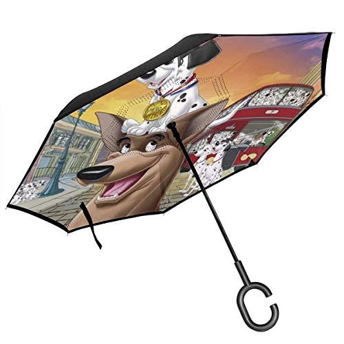 Inverted Umbrella,101 Dalmatiner Auto Reverse Umbrella Weiche Qualität Reverse Umbrellas Zum Muttertag Vatertag,80cm(H) x108cm(Dia)