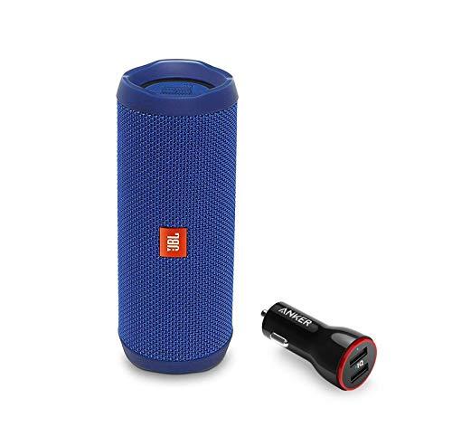 JBL Flip 4 Portable Bluetooth Wireless Speaker Bundle with Anker PowerDrive 2 2-Port USB Car Charger - Blue