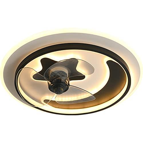 VOMI Lámpara de Techo con Fan Led Remoto Control Plafon de Techo Regulable Negra Luz de Techo con Fan Moderna Silencioso Lámpara Plafon con Ventilador 65W *2 para Dormitorio Niñas Salón, Redondo