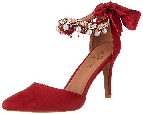 El Caballo Coria, Zapato de tacón Mujer, Rojo, 41 EU