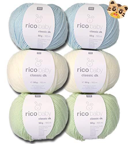 Woll-Set Babywolle Rico Baby Classic 6x50g #15, weiche Wolle Strickpaket, Häkelpaket mit 1 Tigerknopf zum Stricken und Häkeln