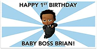 Boss Baby Birthday Banner Dark Skin Tone Personalized Party Decoration