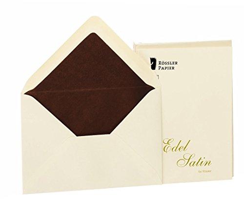 Rössler 2031838004 - Edel Satin - Briefumschlagpack 20/C6 mit Seidenfutter, ivory