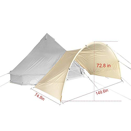TentHome Bell Tent Arch Awning Outdoor Tent sunshade awing tarp (round awning for 4M,5M,6M, accessory)