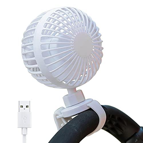 XINMIAO Ventilador USB Ventilador Carrito Bebe,Ventilador USB Silencioso, Portatil Mini Ventilador Bateria Recargable Ventilador Pinza,RotacióN De 360 °, 3 Velocidades (Blanco)