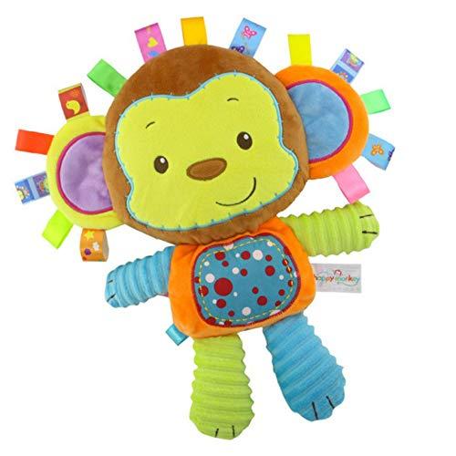 Inchant Juguete para Bebé en Forma de Monito con Etiquetas Peluches Sonajero Suaves de Bebe Mono de Peluche Suave para Agarrar, Sentir y Achuchar, Regalos para Recién Nacidos, Niñas y Niños