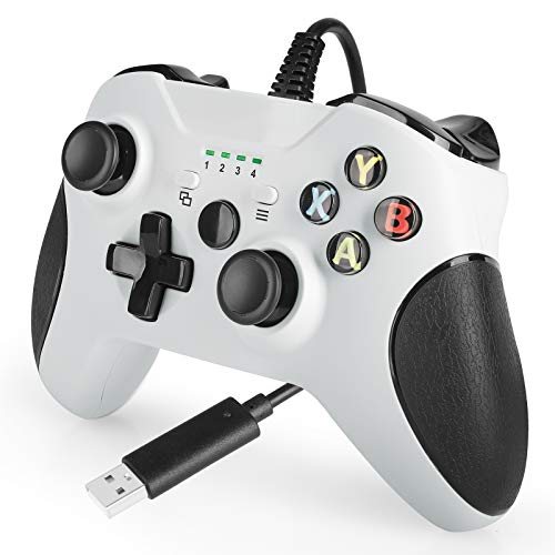 Controller for Xbox One,USB Wired PC Controller Gamepad Joystick for Xbox 1, Windows 7/8/10 with 7.2ft Cord, Dual-Vibration Turbo, Trigger Buttons - White