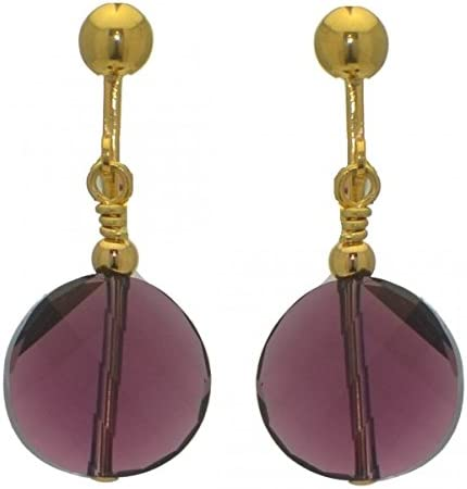 LE TWIST Gold Plated lilac Crystal Clip On Earrings