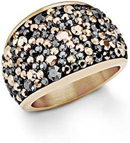 S. Oliver Damen-anillo de acero inoxidable chapado en oro de cristal de Swarovski parte gris talla redonda - 5447