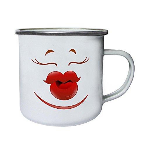 Labios besos femeninos Face Novedad Funny Vintage Art Retro, lata, taza del esmalte 10oz/280ml a203e