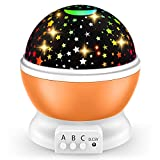 Stars Night Light Projector for Kids: 360 Degree Rotating Moon Star Nightlight with 8 Colors Lights Change for 2-12 Year Old Baby Girls for Nursery Children Bedroom|and Birthday Toys Gifts (Orange)