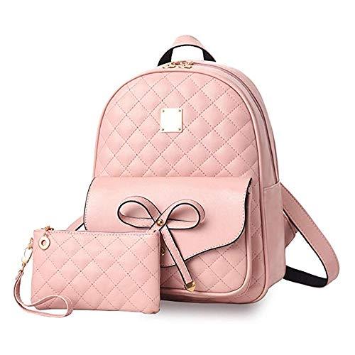 2-PCS Girls Fashion Backpack Bowknot Cute Mini Backpack PU Leather Rucksack Purse for Women COMET - Pink