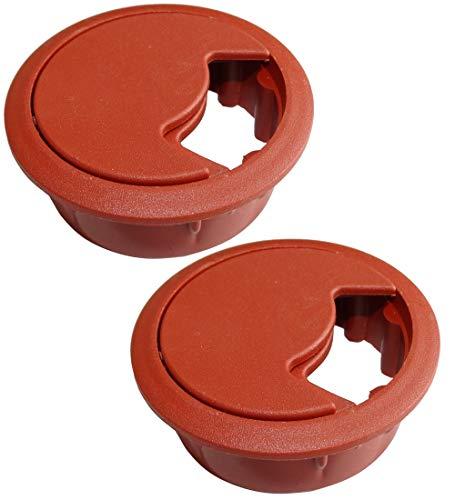 Aerzetix: 2 x Kabeldurchführung rund Kirschbaum Kunststoff für Schreibtisch Öffnung 60 mm C42690