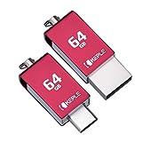 Foto Scheda di Memoria 64GB Rossa USB C 3.0Alta VelocitàDoppia Flash Penna OTGCompatibile con Asus ZenPad S 8.0 Z580C, 3S 10 Z500M, Z10 ZT500KL, Z8s ZT582KL Tablette | 64 GB Tipo C