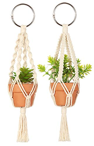 Mkono Mini Macrame Plant Car Accessories Rear View Mirrior Charm Cute Hanging Rearview Car Decor Boho Hanger with Artificial Succulent Plants Gifts for Plant Lover, 10 Inch, Red