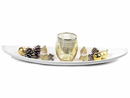 Ideapiu Centrotavola Legno Bianco c/portacandela Oro, Bimbi e pigne