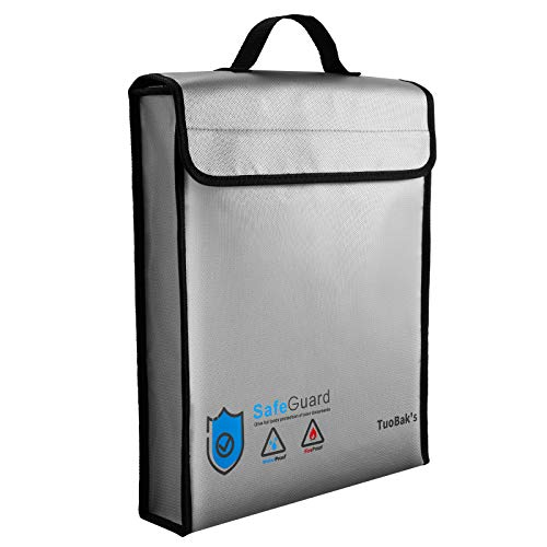 """Fireproof Document Bag,Fireproof Bag 15.8""""×12.6""""×3.1"""",Water Resistant Fireproof Money Bag,Fireproof Bag with Zipper for A4 Document and Valuables Storage"""